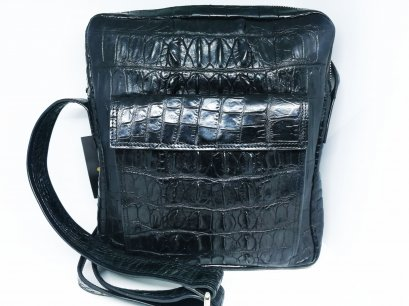 Black Crocodile Leather Messenger Bag #CRM367H-BL-01
