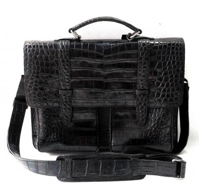 Genuine Belly Crocodile Leather Briefcase in Black Colour  #CRM270719BR-BELLY-BL