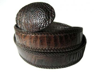 Handcrafted Leg Ostrich Leather Belt with weave style in Chocolate Brown Ostrich Skin  #OSM656B