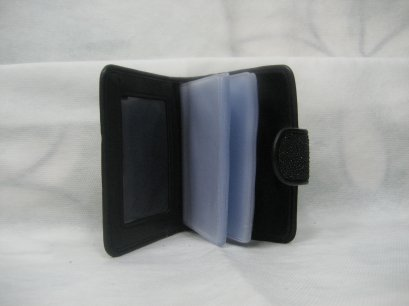 Genuine Stingray Leather Name Card Wallet/Purse in Black Colour  #STM584W