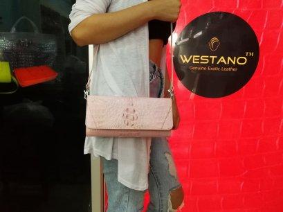 กระเป๋าหนังจระเข้แท้ สีชมพู #CRW1217W-09-PI2