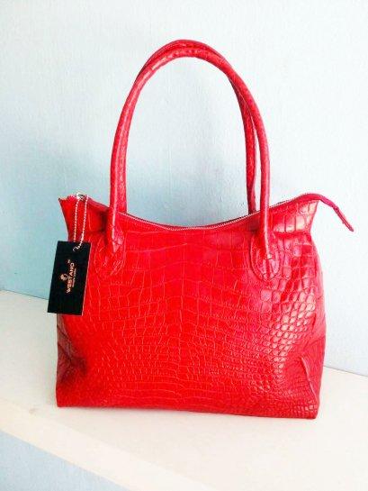 กระเป๋าหนังจระเข้แท้ สีแดง #CRW1217H-05-RE
