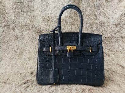 Luxury Genuine Crocodile Tote Bag/Handbag in Navy Blue Crocodile Skin #CRW214H-BLU-25CM