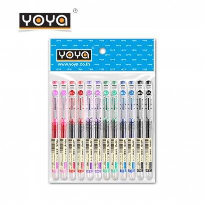YOYA ปากกาเจลน้ำ 0.5 มม. แพ็ค 12 รุ่น D-500 / หมึกคละ 6 สี