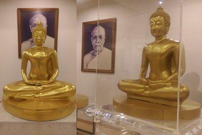 พระพุทธรูปหน้าตัก 108 ซม สีพ่นทองแบบพิเศษ(คล้ายปิดทองคำเปลวแท้) ปั้นตามแบบที่ลูกค้าต้องการ