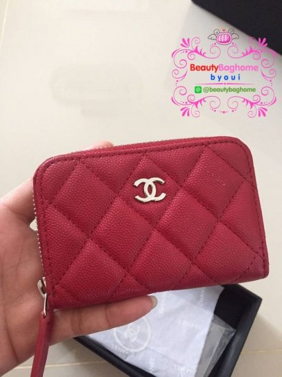 Chanel mini zippy wallet สีแดง (original leather อย่างดี)