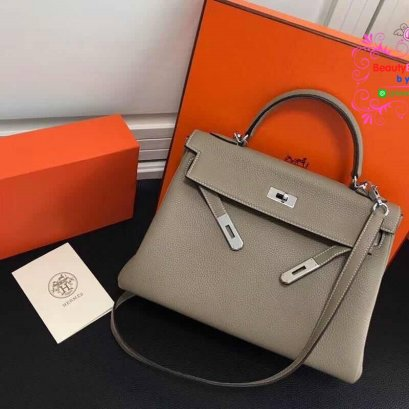 Hermes kelly  28 togo leather  สีเทา  งานHiend 1:1
