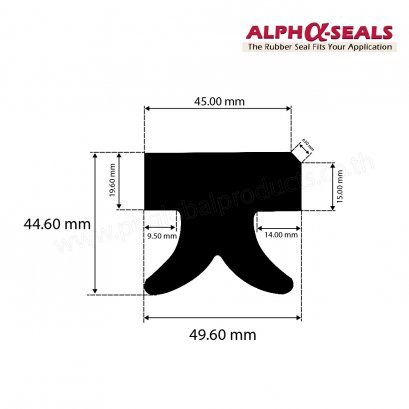 EPDM Rubber Seals H-Profiles 49.60X44.60 mm
