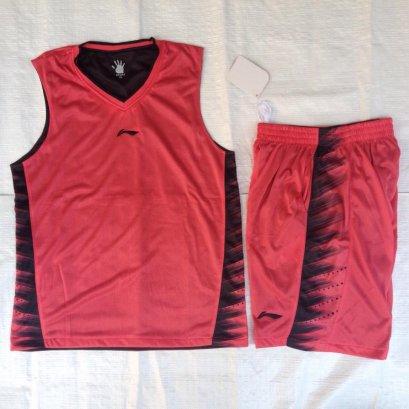 ชุดบาสเกตบอล Liningผ้า2ชั้น สีแดง