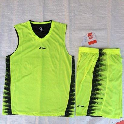 ชุดบาสเกตบอล Liningผ้า2ชั้น สีเขียว