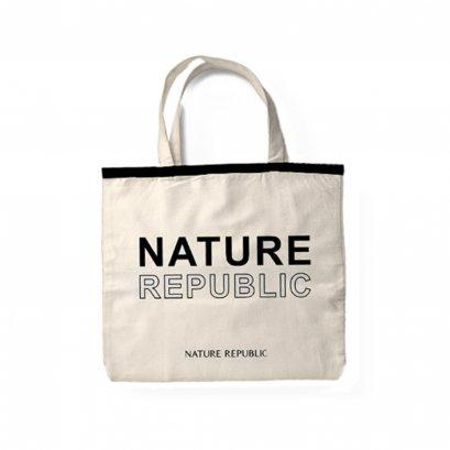 NATURE REPUBLIC ECO BAG (ฺBLACK) กระเป๋าผ้าแคนวาส สกรีนลาย สีดำ