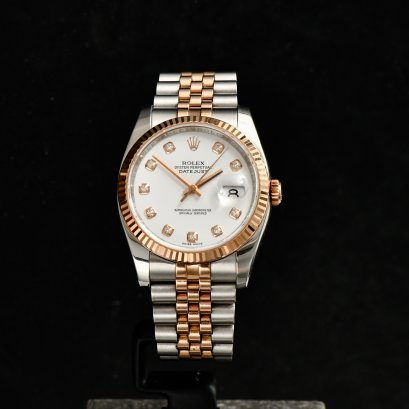 Rolex Dstejust 36m Steel & Pink Gold Jubilee White Diamond Dial