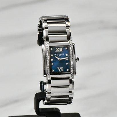 Patek Philippe 24 blue dial steel lady