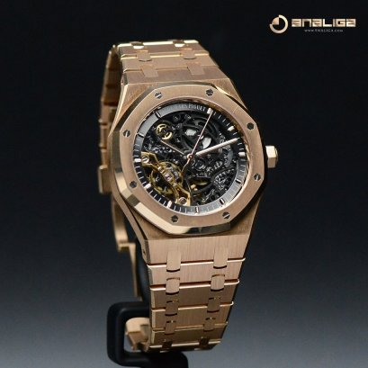 Audemar Piguet 15407OR Royal Oak Skeleton Rose Gold Double Balance Wheel Skeleton Gray Dial Box and Paper