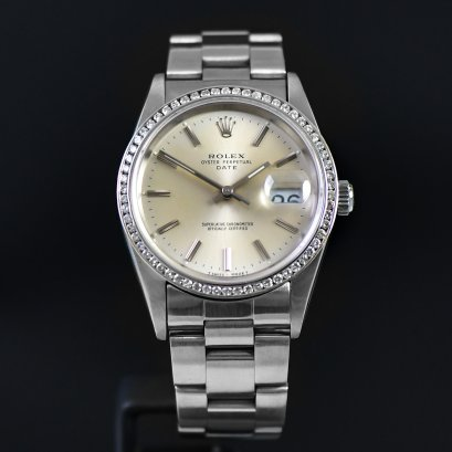 Rolex Datejust หน้าsilver ขอบเพชร Stainless Steel Medium Size 34 mm
