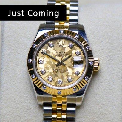 Rolex Datejust หน้าปัดหินเมโทรไลท์สีทอง  หลักเพชร 2กษัตริย์ สายจูบิลี่ตัน   ขนาด26มิล Lady Size
