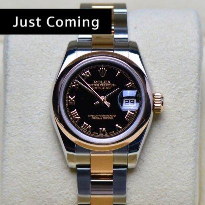 Rolex Oyster หน้าปัดดำ หลักโรมัน2กษัตริย์Rose gold สายเต้าหู้ตัน ขนาด26มิลLady Size