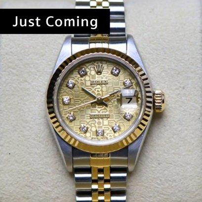 Rolex Datejust หน้าปัดคอมทองเพชรใน สายจูบิลี่โปร่ง 2กษัตริย์ Lady Size
