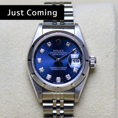 Rolex Datejust หน้าปัดน้ำเงิน  หลักเพชร   เรือน  Steel  ขนาด 26มิล Lady Size