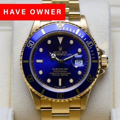 Rolex Submarine Yellow Gold Blue Dial หน้าปัดน้ำเงิน ขอบฟิมล์  เรือนทองคำ18K ขนาด40มิล Man Size