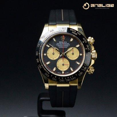 Rolex Daytona Black Dial ขอบ Ceramic เรือน Yellow Gold Rubber Strap