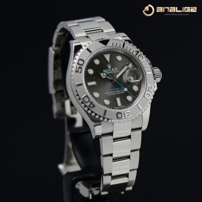 Rolex Yacht-Master Platinum Bezel Dark Rhodium with blue index