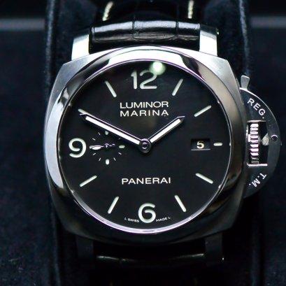 Panerai Luminor Marina   Automatic หน้าปัดดำ  หลักอารบิค สายหนัง ขนาด44มิล