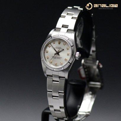 Rolex Oyster gray dial หลักเพชร สายเต้าหู็โปร่ง  ขนาด26มิล Lady Size