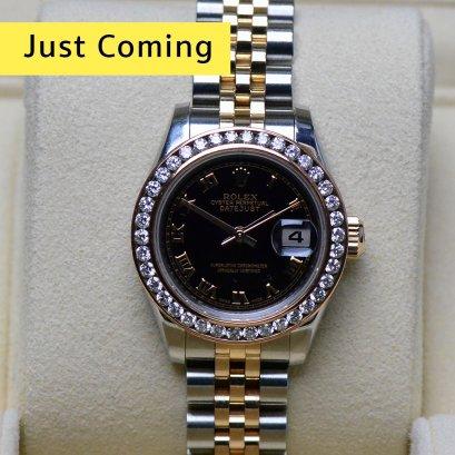 Rolex  Datejust หน้าปัดคอมดำ หลักโรมัน 2กษัตริย์ สายจูบิลี่ตัน พร้อมขอบเพชร Rose gold ขนาด26มิล Lady  Size
