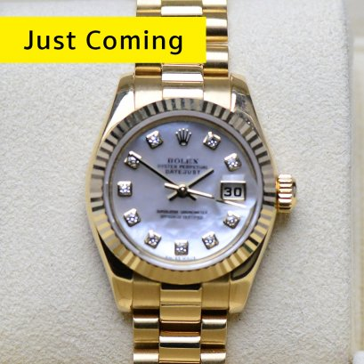 Rolex President Pearl Dial หน้าปัดมุกขาว หลักเพชร เรือนทองคำ18k yellow gold  lady size 26มิลคะ