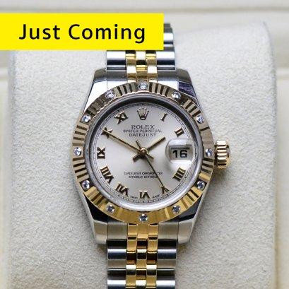 Rolex Datejustหน้าปัดทองอ่อน หลักโรมัน พร้อมขอบเพชรกระจายOriginal 2กษัตริย์ 18K สายจูบิลี่ตัน รุ่นใหม่ Lady size 26มิล