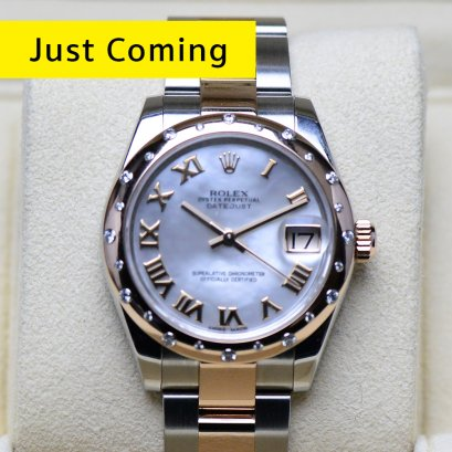 Rolex Oyster หน้าปัดมุกขาวเพชรIV 2กษัตริย์ Pink gold สายตัน Boy Size 31มิล