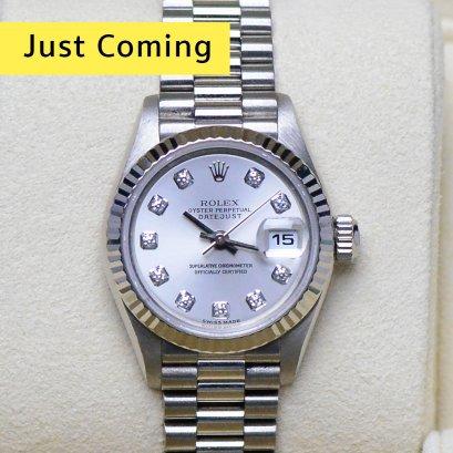 Rolex Presisent หน้าปัดโรเดี้ยม หลักเพชร  เรือนแพทตินั่ม ขนาด26มิล Lady  Size