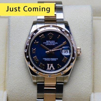 Rolex Datejust IV หน้าปัดสีน้ำเงิน ขอบเพชรกระจาย Original  สายเต้าหู้ตัน 2กษัตริย์ Rose gold ขนาด 31มิล Boy  Size