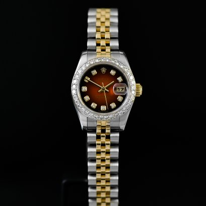 Rolex Datejust หน้าแดง ล้อมเพชร 2tone Stainless Steel & Yellow Gold Lady Size 26 mm