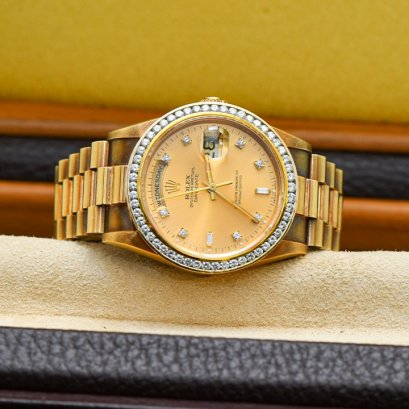 Rolex President Day Date Yellow Gold 3 Steps AD Thai Y1996 with Diamond size 36m Full Set Complete