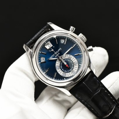 Patek 5960P Platinum Annual Calendar Chronograph Blue Dial Y2012 Box and Paper
