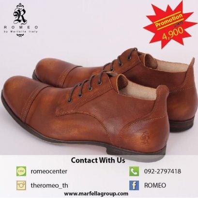 Romeo Leather Shoes BROWN รองเท้าหนังแท้สีน้ำตาล Design หรู สบาย ทนทาน ใส่แล้วหล่อ ไซด์ขนาด 40-45