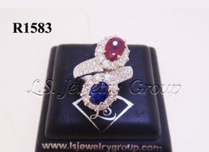 แหวนทับทิมพม่าเจียระไนและไพลินซีลอนเจียระไน 2.12 Ct.