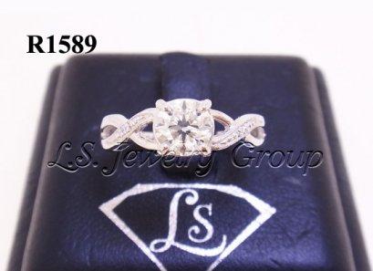 แหวนชูเพชรกลาง H&A 0.58 Ct. ก้านไขว้