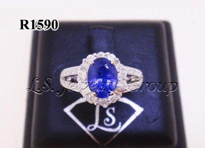 แหวนไพลินซีลอนธรรมชาติเจียระไน 1.30 Ct.
