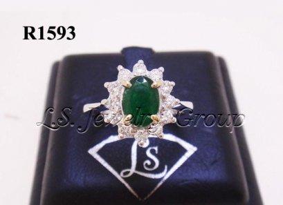 แหวนมรกตโคลัมเบียธรรมชาติเจียระไน 0.76 Ct.