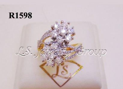 แหวนเพชรดอกไม้ไขว้ 1.45 Ct. น้ำ99%
