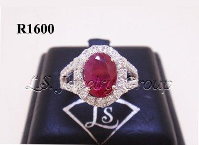 แหวนทับทิมพม่าธรรมชาติเจียระไน 1.37 Ct.