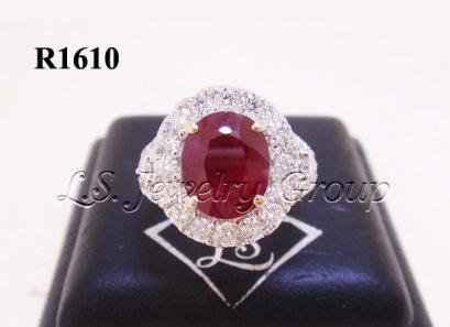 แหวนทับทิมพม่าธรรมชาติเจียระไน 3.04 Ct.