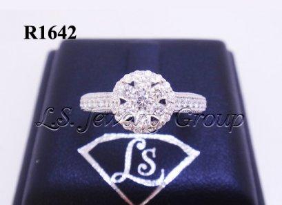 แหวนเพชรกระจุกล้อม 0.75 Ct. น้ำ99%