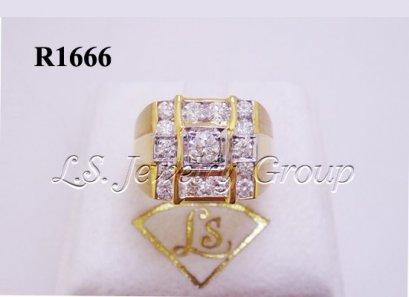 แหวนเพชรชายล้อมเพชรสอดทรงสีเหลี่ยม 0.20 Ct. เพชร H&A