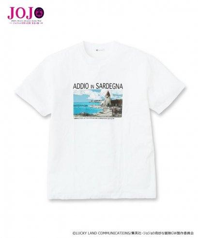 [Price 2,300/Deposit 1,300][Please Read All Detail][SEP2019] JOJO tk.TAKEO KIKUCHI, T-Shirt ADDIO IN SARDEGNA, WHITE, เสื้อยืดทีเชิร์ต สีขาว,ซาร์ดีเนีย, โจโจ้ ล่าข้ามศตวรรษ ภาค 5 สายลมทองคำ, Jojo's Bizarre Adventure Part 5, Vento Aureo, Golden Wind