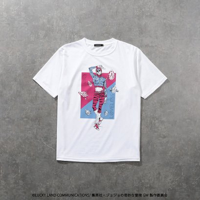 [NEW][SIZE L] JOJO LOVELESS Guido Mista T-Shirt WHITE, เสื้อยืดที-เชิร์ตสีขาว กุยโด้ มิซูต้า, โจโจ้ ล่าข้ามศตวรรษ ภาค 5, Jojo's Bizarre Adventure Part 5, Vento Aureo, Golden Wind