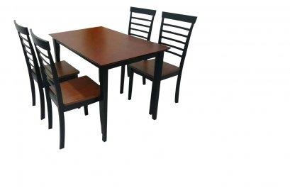 ชุดโต๊ะอาหารไม้ 4 ที่นั่ง สีโอ๊คลายไม้สลับสีทูโทน